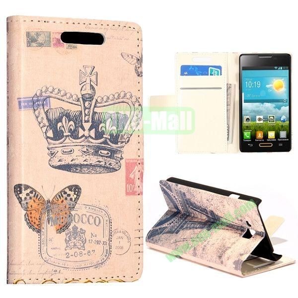 Crown and Butterfly Pattern Wallet Style Leather Case with Card Slots and Holder for LG Optimus L9 II  D605