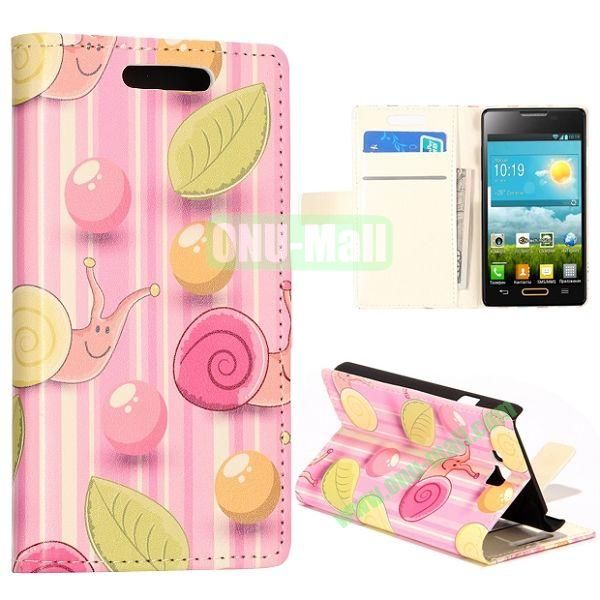 Pink Cute Dolphins Pattern Wallet Style Leather Case with Card Slots and Holder for LG Optimus L9 II  D605