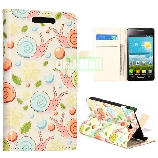 Lovely Snails Pattern Wallet Style Leather Case with Card Slots and Holder for LG Optimus L9 II  D605