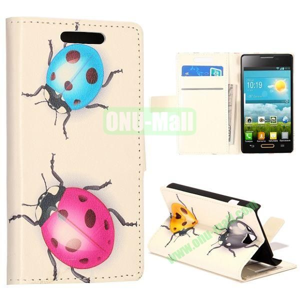 Cute Coccinella Septempunctata Pattern Wallet Style Leather Case with Card Slots and Holder for LG Optimus L9 II  D605