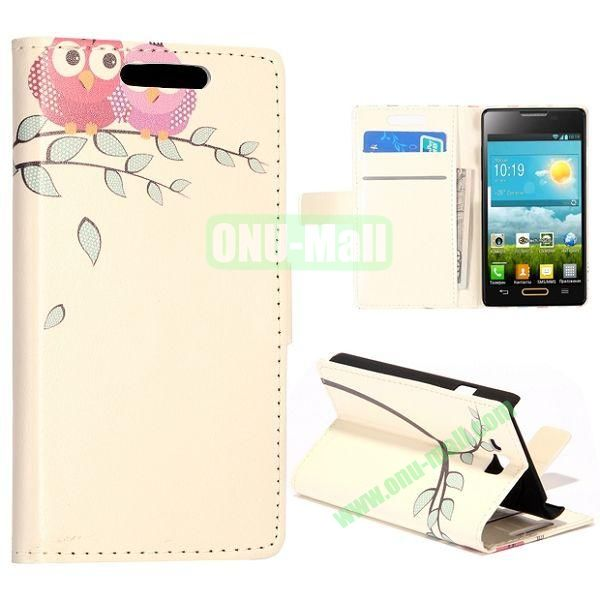 Cute Owls Pattern Wallet Style Leather Case with Card Slots and Holder for LG Optimus L9 II  D605