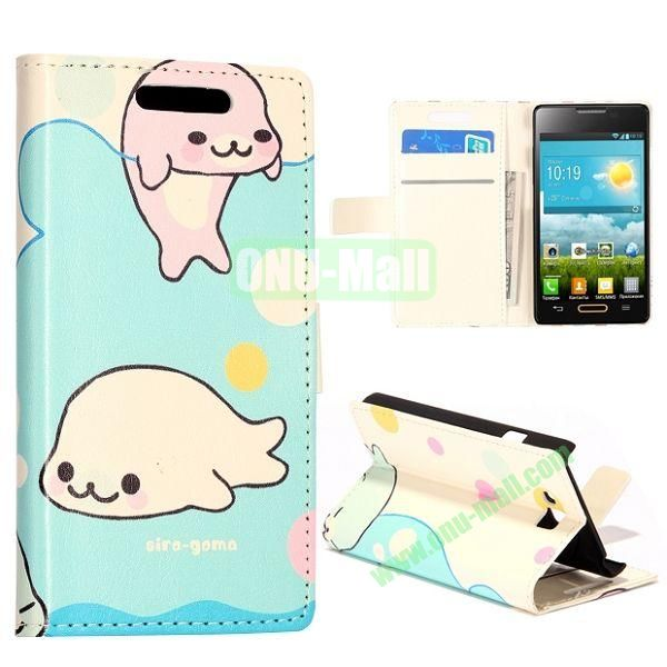 Cute Dolphins Pattern Wallet Style Leather Case with Card Slots and Holder for LG Optimus L9 II  D605