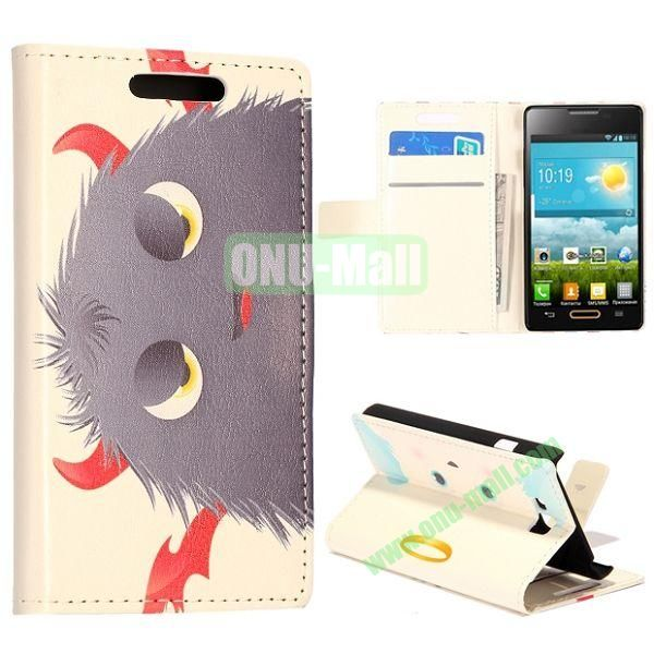 Grey Cartoon Pattern Wallet Style Leather Case with Card Slots and Holder for LG Optimus L9 II  D605