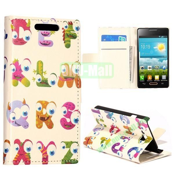Cartoon English Letters Pattern Wallet Style Leather Case with Card Slots and Holder for LG Optimus L9 II  D605