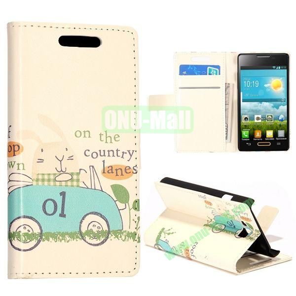 Blue Cartoon Car Pattern Wallet Style Leather Case with Card Slots and Holder for LG Optimus L9 II  D605