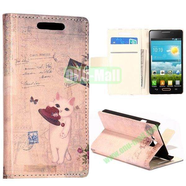 Cat and UK Flag Pattern Wallet Style Leather Case with Card Slots and Holder for LG Optimus L9 II  D605