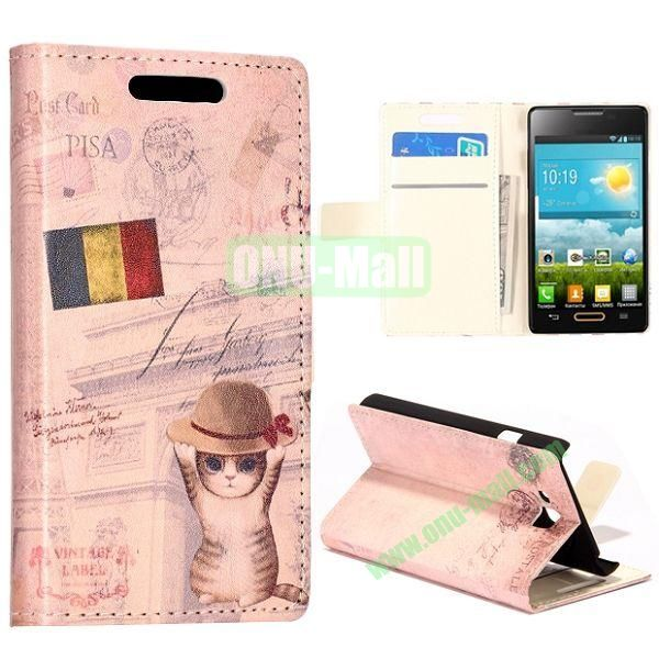 Cat and Flag of Belgium Pattern Wallet Style Leather Case with Card Slots and Holder for LG Optimus L9 II  D605