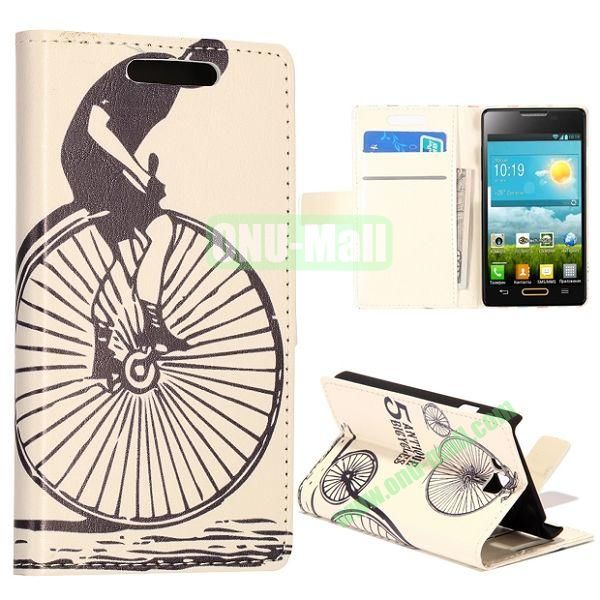 Cycling Round of Boy Pattern Wallet Style Leather Case with Card Slots and Holder for LG Optimus L9 II  D605