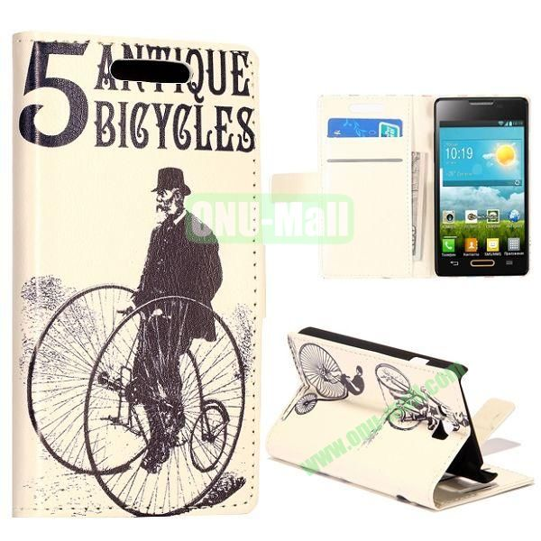 Cycling Round of Man Pattern Wallet Style Leather Case with Card Slots and Holder for LG Optimus L9 II  D605