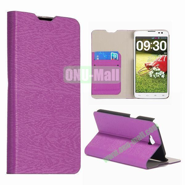 Wood Texture Wallet Leather Flip Stand Case with Card Slots for LG G Pro Lite Dual  D686  Optimus G Pro (Purple)