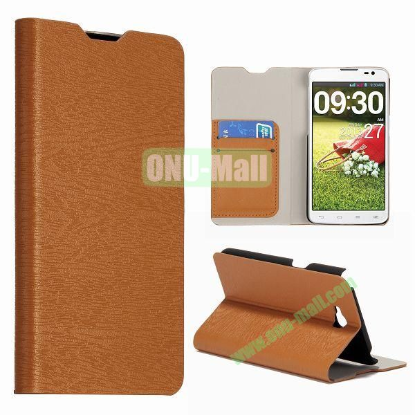 Wood Texture Wallet Leather Flip Stand Case with Card Slots for LG G Pro Lite Dual  D686  Optimus G Pro (Brown)