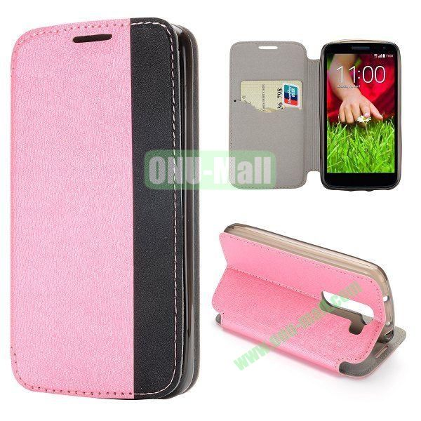 Dual-color Cross Pattern Flip Stand PU Leather Case for LG G2 Mini 3G D610 D618 D620 (Pink)