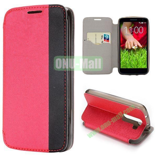Dual-color Cross Pattern Flip Stand PU Leather Case for LG G2 Mini 3G D610 D618 D620 (Red)