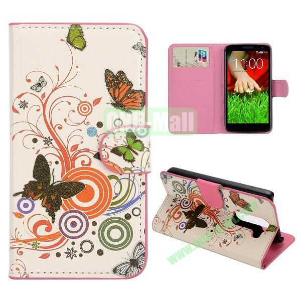 Stylish Pattern Wallet Style PC and PU Leather Case For LG G2 Mini D620 (Music Butterfly)