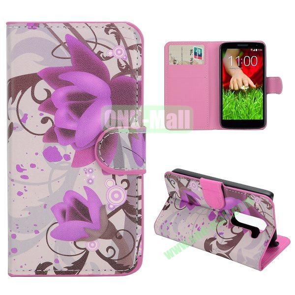 Stylish Pattern Wallet Style PC and PU Leather Case For LG G2 Mini D620 (Lotus)