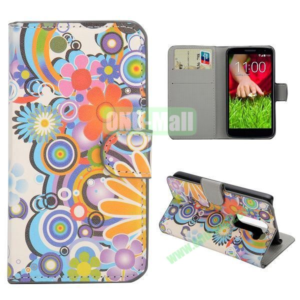 Stylish Pattern Wallet Style PC and PU Leather Case For LG G2 Mini D620 (Flowers)