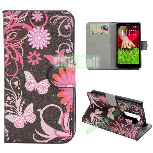 Stylish Pattern Wallet Style PC and PU Leather Case For LG G2 Mini D620 (Pink Butterfly)