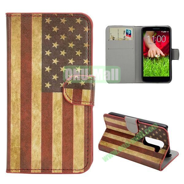 Stylish Pattern Wallet Style PC and PU Leather Case For LG G2 Mini D620 (US Flag)