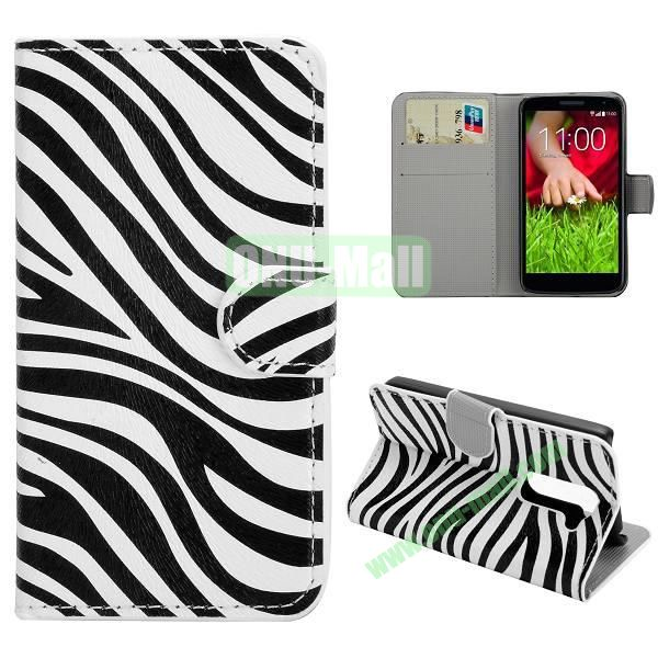 Stylish Pattern Wallet Style PC and PU Leather Case For LG G2 Mini D620 (Zebra Pattern)