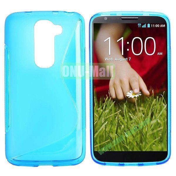 S Shape TPU Case for LG G2 Mini D610 D618 D620 D620R (Blue)