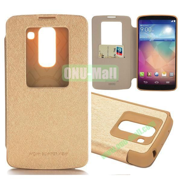 Mercury Caller ID Display Window Flip Leather Case for LG Optimus G Pro 2 F350 (Gold)