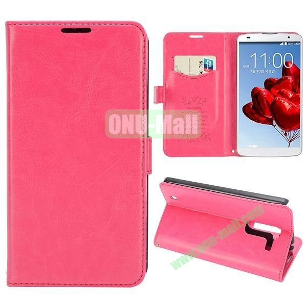 Crazy Horse Texture Flip Stand Leather Case with Card Slots for LG Optimus G Pro 2  F350  D837 (Rose)
