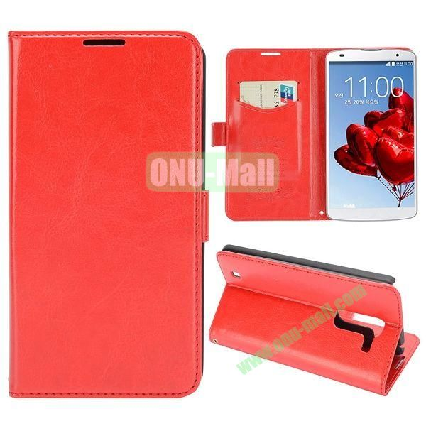 Crazy Horse Texture Flip Stand Leather Case with Card Slots for LG Optimus G Pro 2  F350  D837 (Red)
