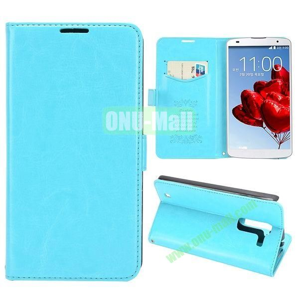 Crazy Horse Texture Flip Stand Leather Case with Card Slots for LG Optimus G Pro 2  F350  D837 (Light Blue)