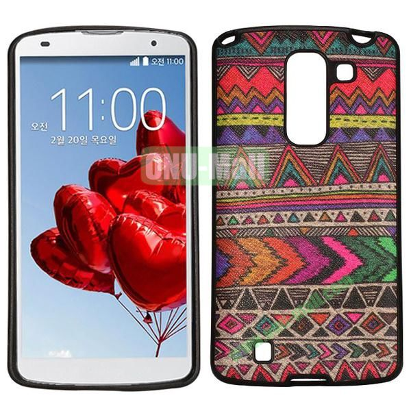 Ultrathin Leather Coated Soft TPU Case for LG Optimus G Pro 2 F350 (Colorful Tribal)