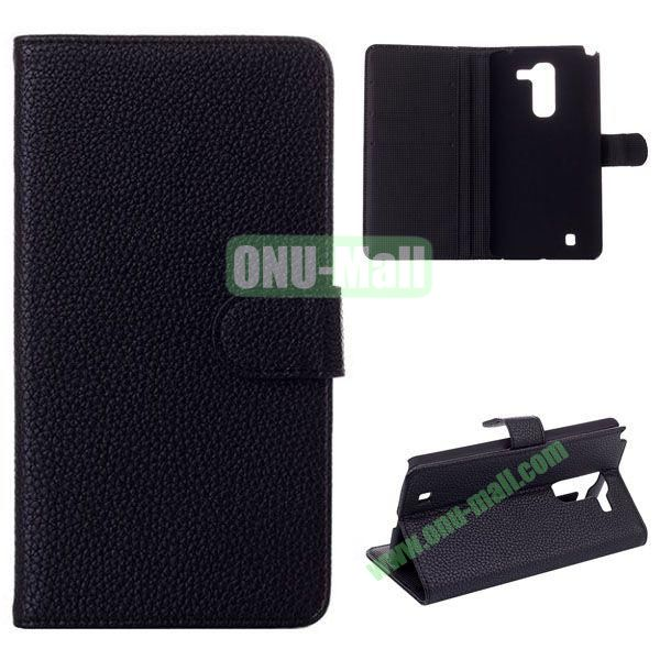 Litchi Texture Flip Stand Leather Case with Card Slots for LG Optimus G Pro 2 F350 (Black)