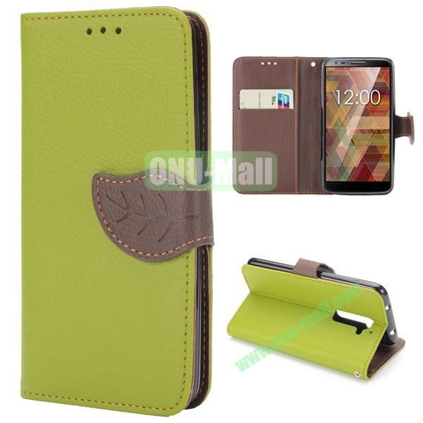 Lichee Texture Magnetic Buckle Design Flip Stand TPU+PU Leather Case for LG G2 with Strap (Green)