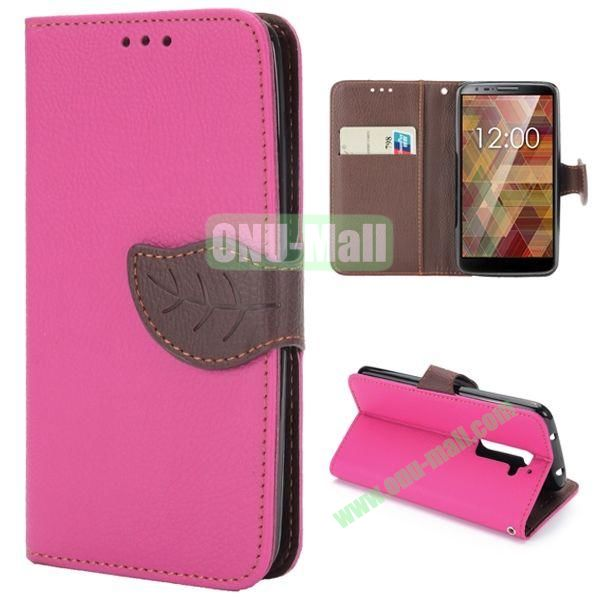 Lichee Texture Magnetic Buckle Design Flip Stand TPU+PU Leather Case for LG G2 with Strap (Rose)