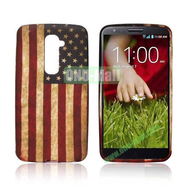 Retro Style USA Flag Pattern Oil Coated Soft TPU Case for LG G2