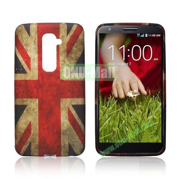 Retro Style UK Flag Pattern Oil Coated Soft TPU Case for LG G2
