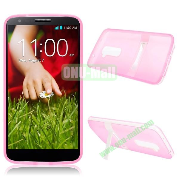 Dual-color TPU Case for LG Optimus G2 D801 D802 D803 with a Stand Holder (Pink)