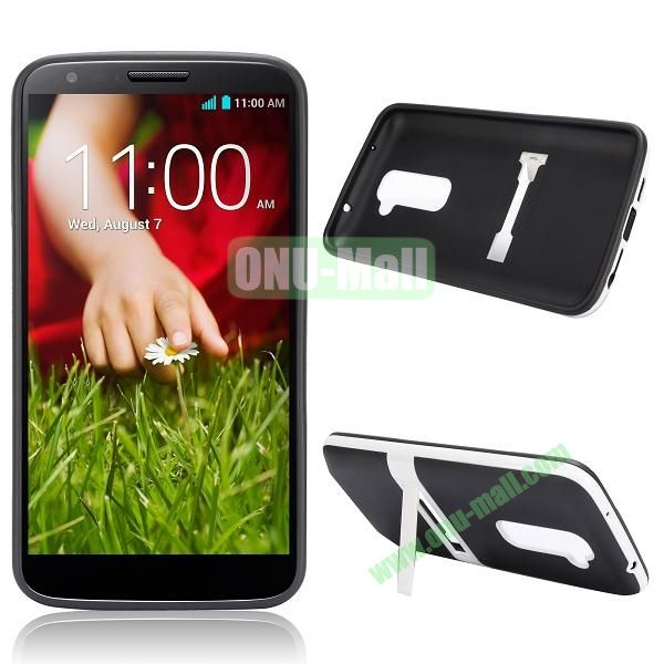 Dual-color TPU Case for LG Optimus G2 D801 D802 D803 with a Stand Holder (Black)