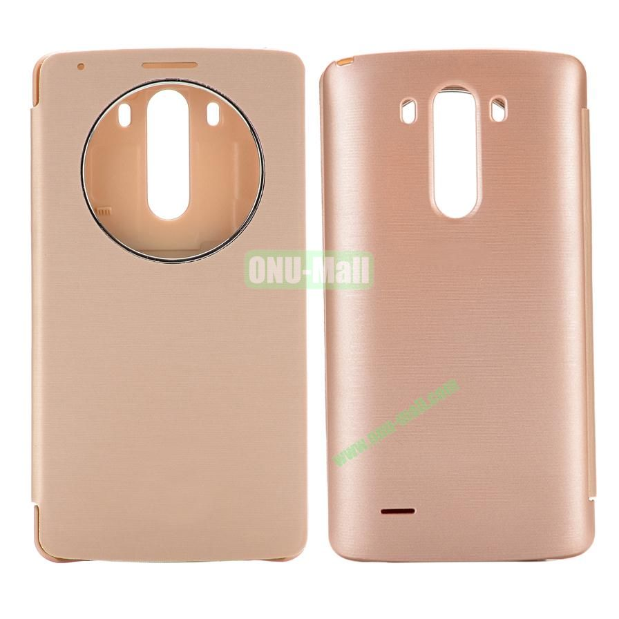 Round Caller ID Display Window PU and PC Battery Case for LG G3 D850 LS990 (Gold)
