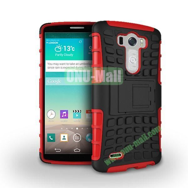 Dual-color 2 in 1 Detachable Antiskid PC+TPU Hybrid Case with Kickstand for LG G3 D850 LS990 (Red)