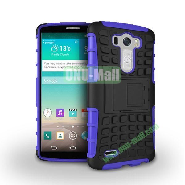 Dual-color 2 in 1 Detachable Antiskid PC+TPU Hybrid Case with Kickstand for LG G3 D850 LS990 (Purple)
