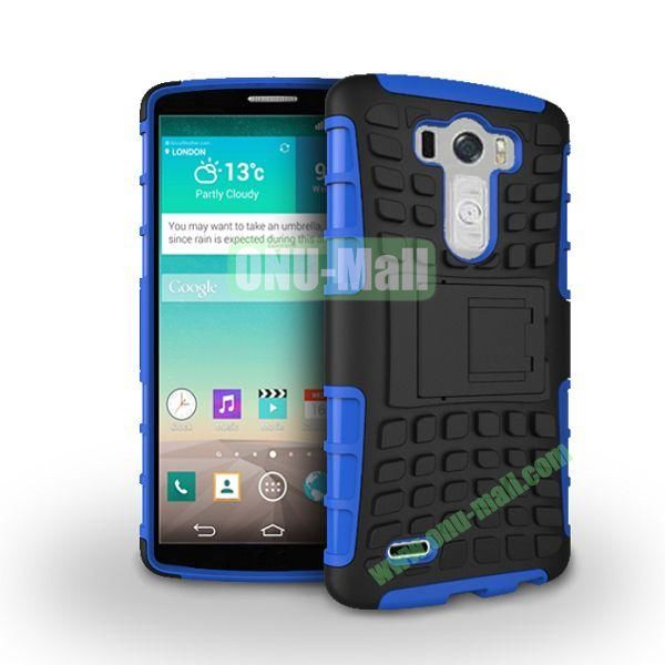 Dual-color 2 in 1 Detachable Antiskid PC+TPU Hybrid Case with Kickstand for LG G3 D850 LS990 (Blue)