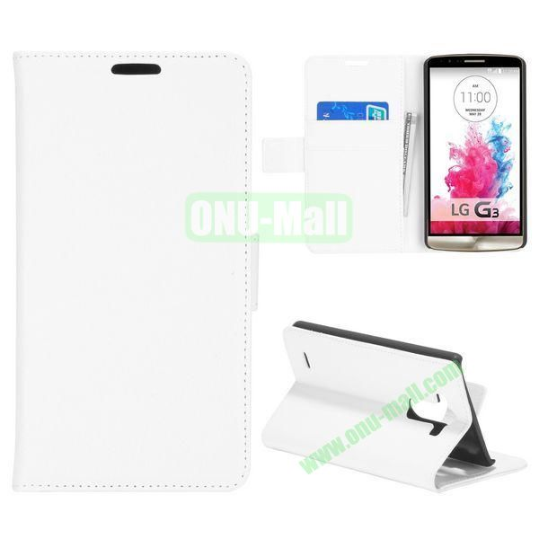 Litchi Texture Flip Stand Leather Case for LG G3 D850 LS990 (White)