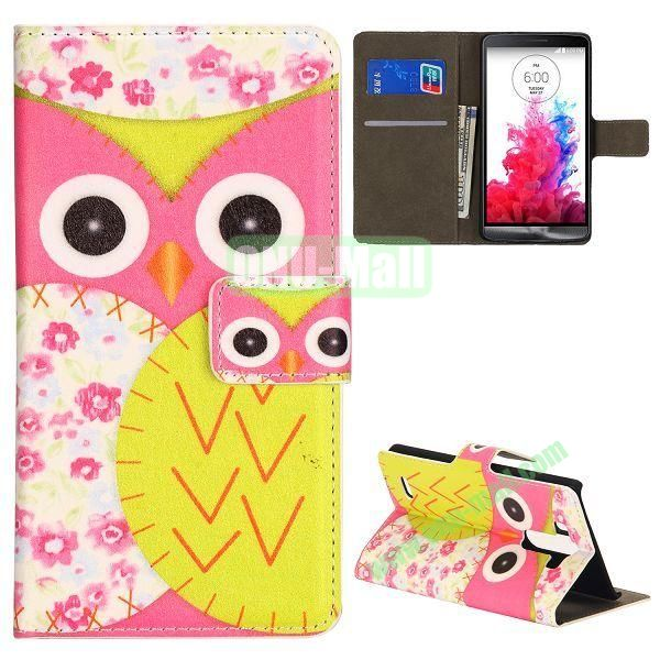 Cute Owl Pattern Foldable Magnetic Flip Stand Leather Case for LG G3 D850 LS990 (Pink+Yellow)