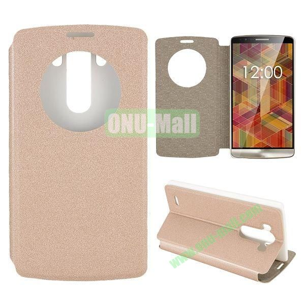 Matte Surface Caller Display Window Flip Leather Case for LG G3 D850 LS990 (Champagne)