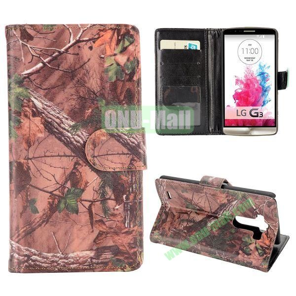 Trees Winter Pattern Magnetic Foldable Flip Stand Leather Case for LG G3 D850 LS990 with Card Slots