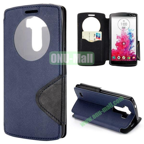 Cross Texture Flip Stand Leather Case for LG G3 D850 with Caller ID Display Window (Dark Blue)