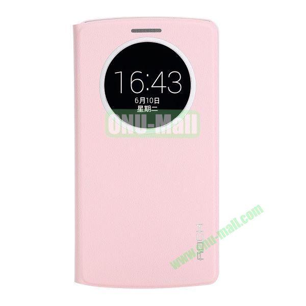 Rock Uni Series Gravel Pattern Leather Case for LG G3 D850 with Caller ID Display Window (Pink)