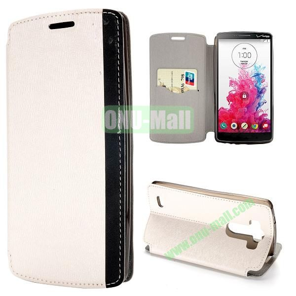 Dual-color Cross Pattern Flip Stand PU Leather Case for LG G3 D850 LS990 (White)