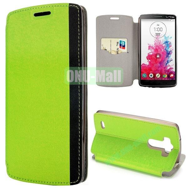 Dual-color Cross Pattern Flip Stand PU Leather Case for LG G3 D850 LS990 (Green)