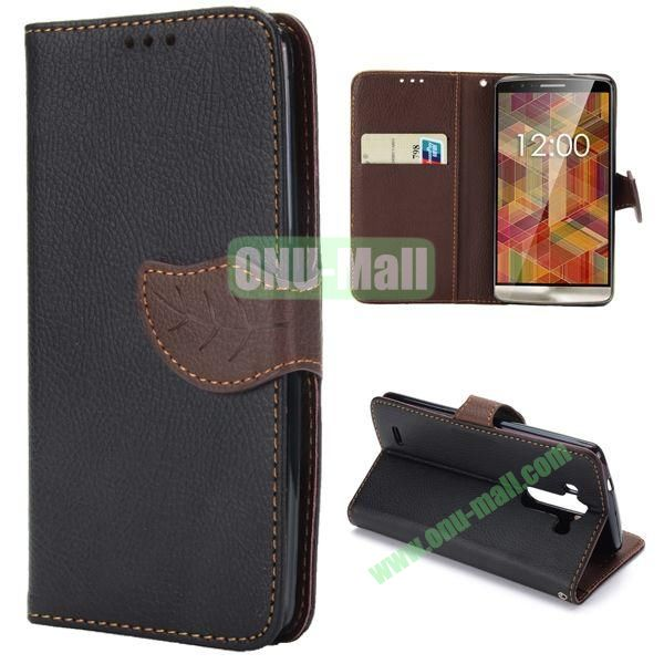 Lichee Texture Magnetic Buckle Design Flip Stand TPU+PU Leather Case for LG G3 D850 with Strap (Black)