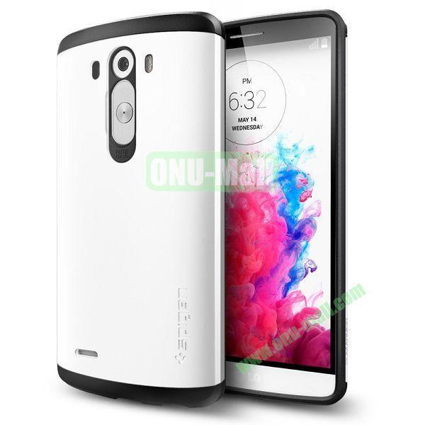Slim Armor TPU + PC Hybrid Shell Case for LG G3 D850 (White)